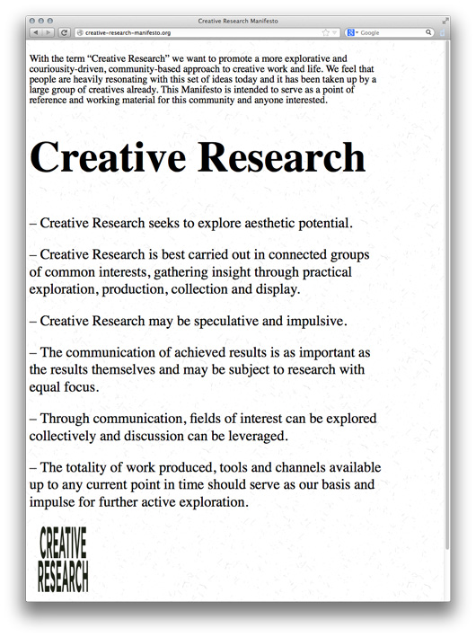 Creative Research Manifesto