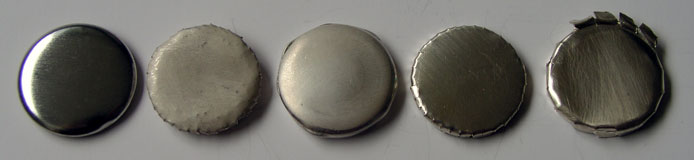 All tests: usual steel button, several kinds of sheet silver, different ways of preparation